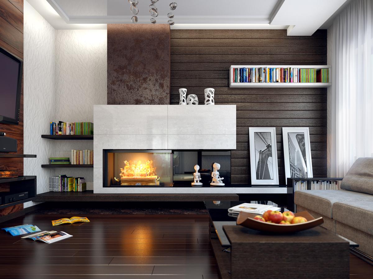 Дизайн каминов в гостиной